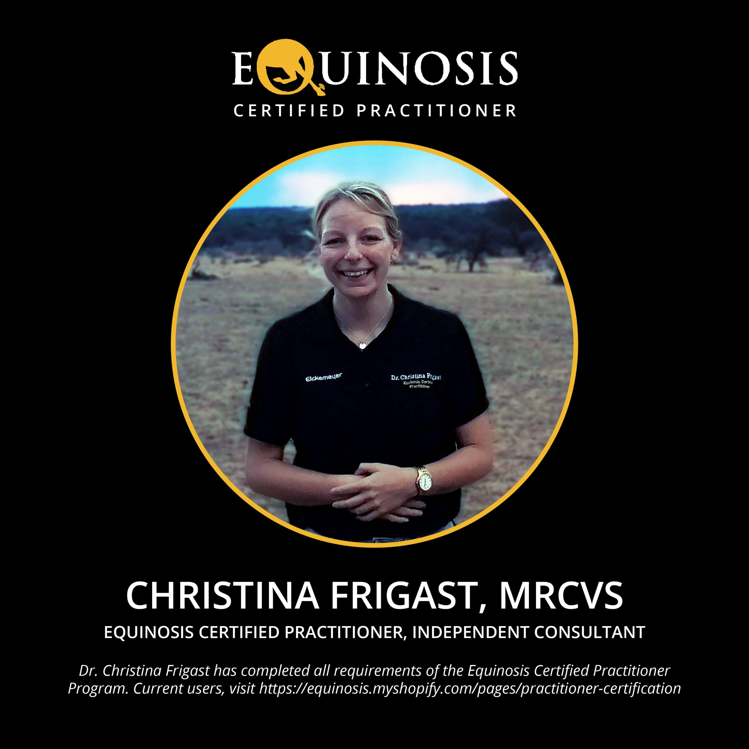 Christina Frigast Mrcvs Cerp Equinosis Certified Practitioner